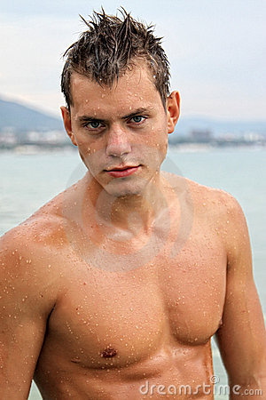 Potrait of muscle wet sexy man