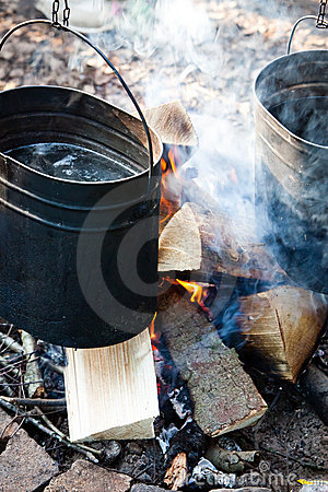 Pots on the campfire