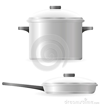 Pots and pans tableware vector illustration