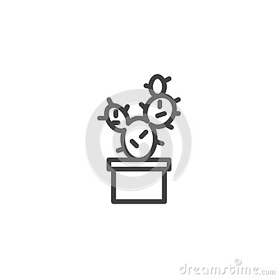 Free Potted Cactus Outline Icon Royalty Free Stock Image - 114350446