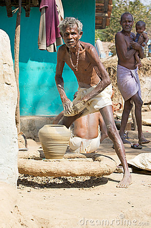 Potter in tribal rural village Editorial Photography
