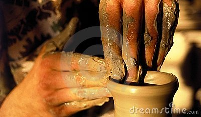 Pottery artistic hands