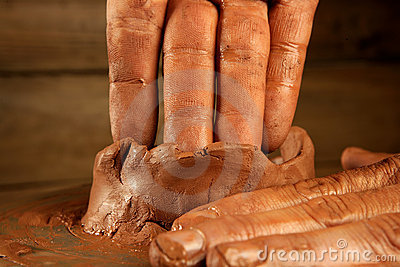 Pottery craftmanship clay pottery hands work