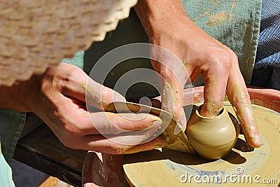 Pottery handcraft close-up