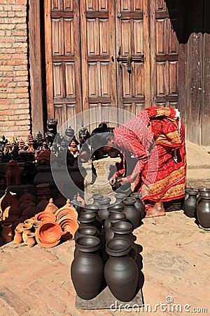 Pottery Making, Bhaktapur, Nepal Editorial Photo