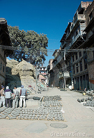 Pottery market on the Durbar square,Bhaktapur Editorial Image