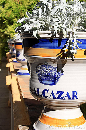 Pottery of Real Alcazar in Seville, Spain