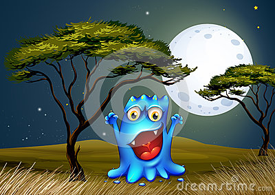 Potwór blisko drzewa pod jaskrawym fullmoon