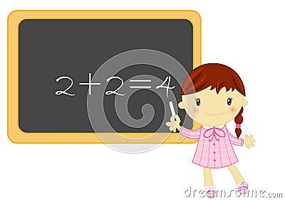 Pouca menina da escola durante a lição da matemática