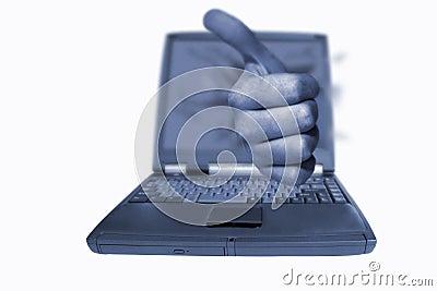 Pouces d ordinateur portatif vers le haut