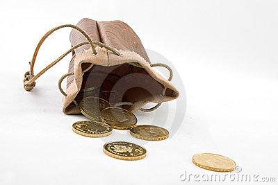 Pouch with gold coins