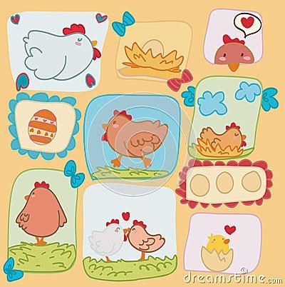 Poules drôles heureuses de carte de Pâques