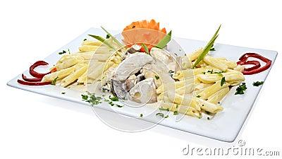 Poulet avec des pâtes