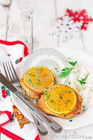 poulet r ti orange pic avec du riz l 39 atmosph re de no l. Black Bedroom Furniture Sets. Home Design Ideas