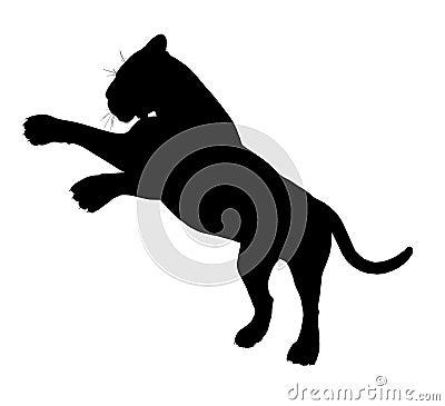 Pouncing tiger silhouette 300 dpi