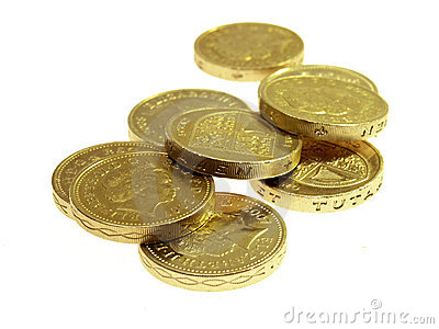Pound coins on white