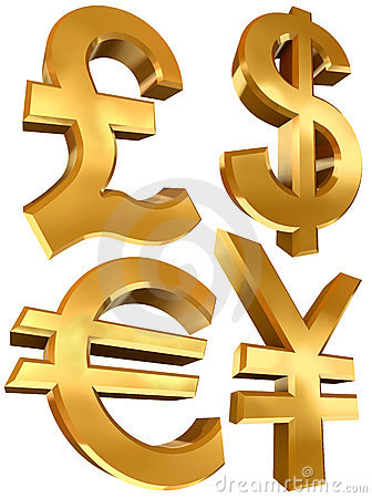 Pound dollar euro and yen golden symbols