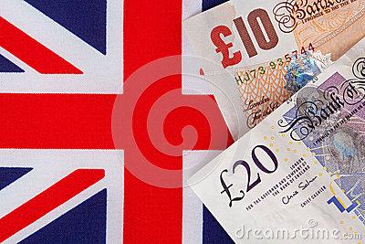 Pound notes on a Union Jack flag