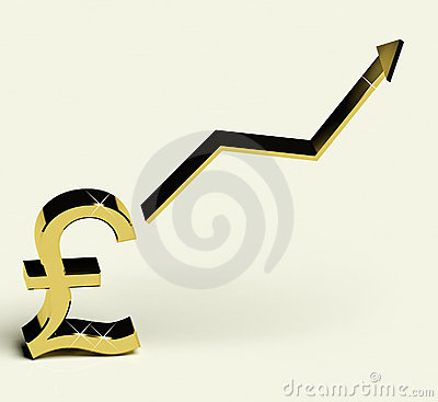Pound Sign And Up Arrow As Symbol For Earnings