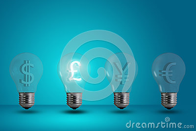Pound symbol glow among other light bulb