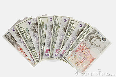Pounds and dollars Editorial Stock Image