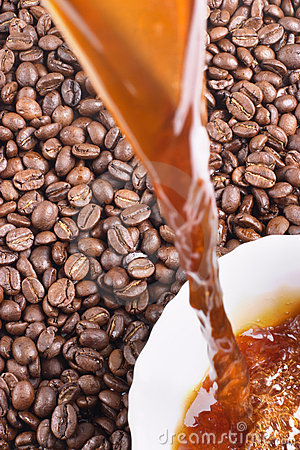 Pour coffee and coffee-beans