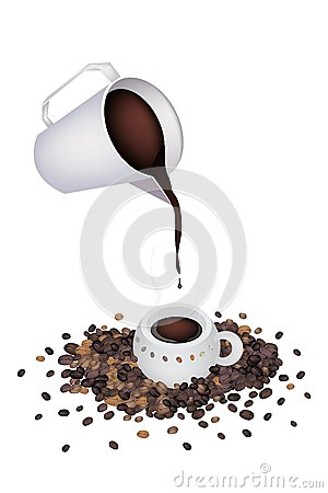 Pour A Delicious Hot Coffee by Measure Cup