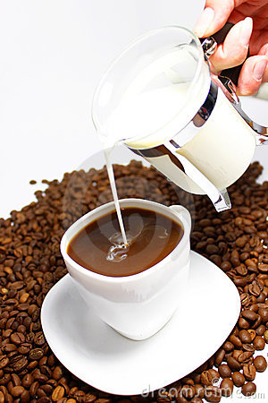Pour milk in  coffee