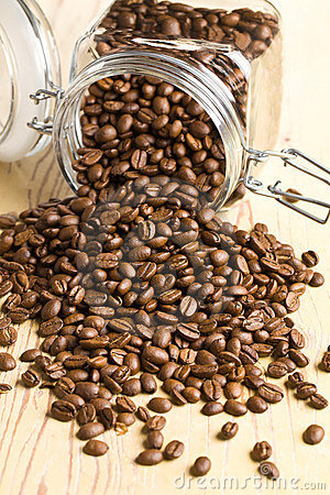 Poured coffee beans