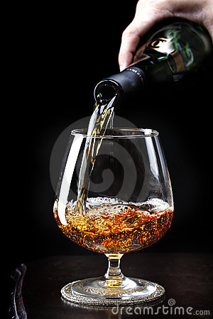 Pouring brandy
