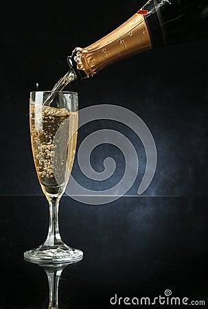 pouring a champagne flute stock image image 1456621. Black Bedroom Furniture Sets. Home Design Ideas