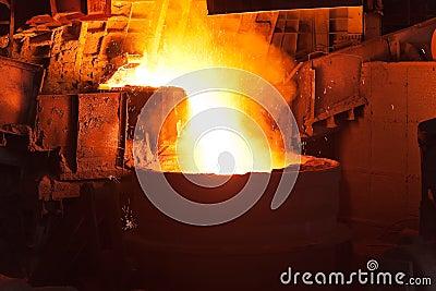 Pouring of liquid metal in open hearth workshop