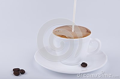 Pouring milk into coffee
