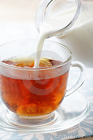 Free Pouring Milk Into Cup With Tea Royalty Free Stock Image - 18525536