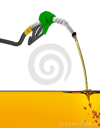 3D illustration, nozzle pumping gasoline in a tank, of fuel nozzle pouring gasoline over white background. Cartoon Illustration