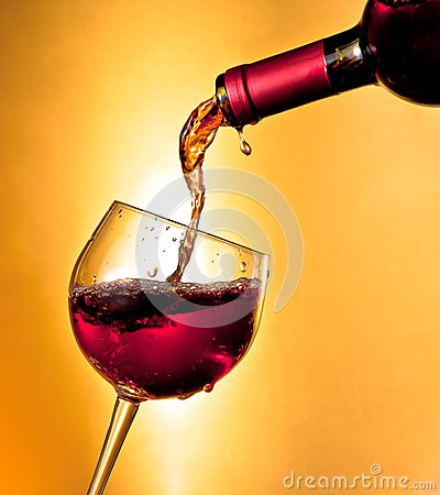 Free Pouring Red Wine In The Glass Tilted Royalty Free Stock Photos - 34907238