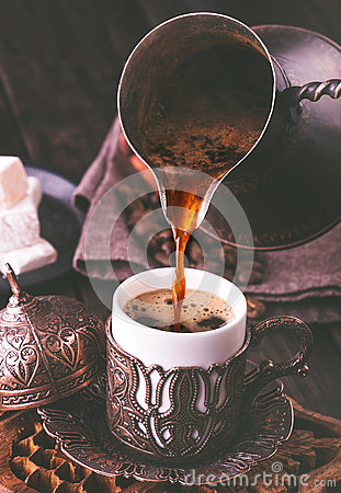 Free Pouring Turkish Coffee Stock Images - 62044924
