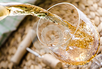 Pouring of white wine