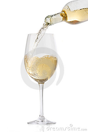 Free Pouring White Wine Into A Glass Stock Image - 16931161