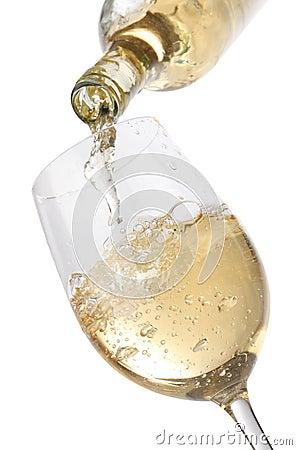 Free Pouring White Wine Into A Glass Stock Photos - 17021443