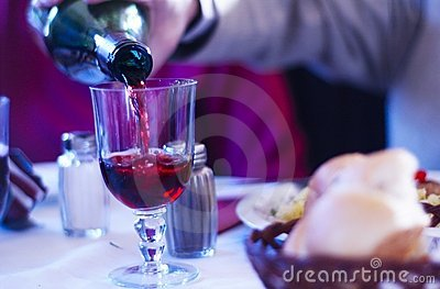 Pouring Wine With Dinner Blue Tint