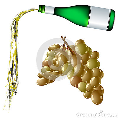 Pouring wine and grapes