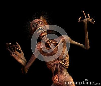 Pousser des cris perçants le zombi sur le noir