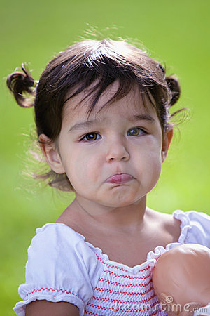 Free Pouting Baby Girl With Big Brown Eyes Stock Photography - 14885022