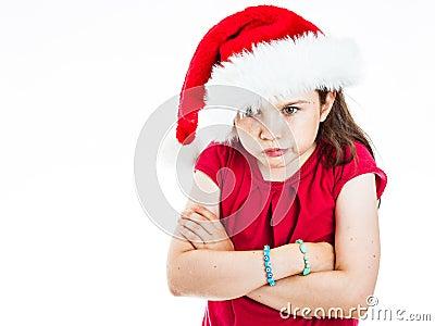 Pouting Christmas girl