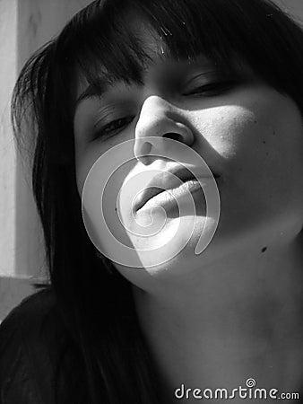 Pouting woman portrait