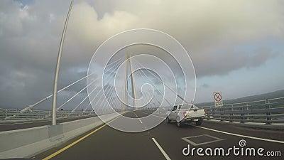 POV från den tredje bron över Panamakanalen, känd som Atlantic Bridge lager videofilmer