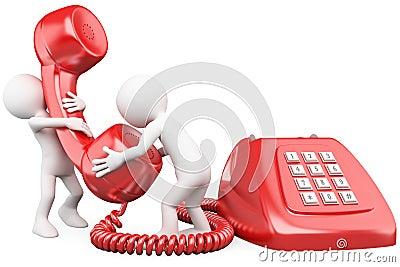Povos 3D pequenos que falam no telefone