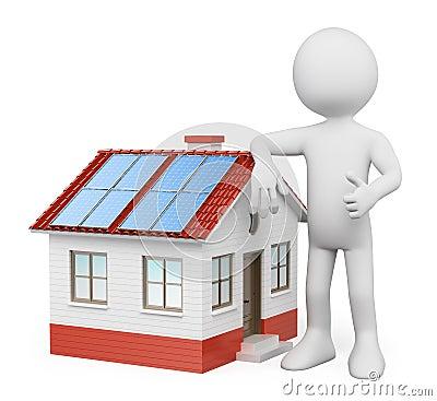 Povos 3D brancos. Casa com painéis solares