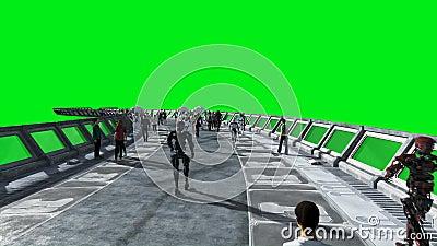 Povos e rob?s Tonnel de Sci fi Tráfego futurista Conceito do futuro Metragem verde da tela Anima??o 4K real?stica filme